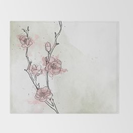Watercolor Plum Blossom Throw Blanket