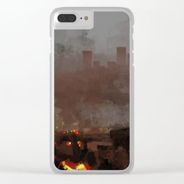 Apocaliptic aftermath nuclear explotion cityscape fire rubble destruction death change future illust Clear iPhone Case