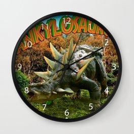 Ankylosaurus Dinosaur Park Vegetation and  Volcano Wall Clock