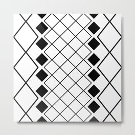 Black and white nordic geometric diamond pattern Metal Print