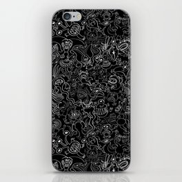 Crazy monsters in a crowded pattern iPhone Skin
