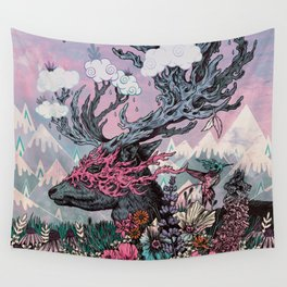 Journeying Spirit (deer) sunset Wall Tapestry