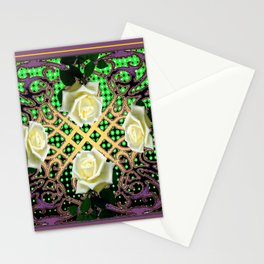PUCE ORNATE WHITE ROSE GARDEN  TAPESTRY Stationery Cards