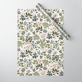 Herbarium ~ vintage inspired botanical art print ~ white Wrapping Paper