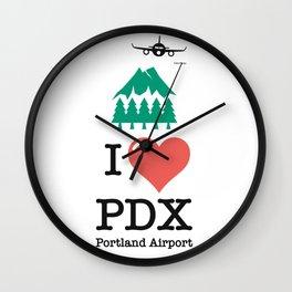 I Love/ like PDX airport Portland Wall Clock
