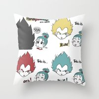 vegeta Throw Pillows featuring Primary Colors with Vegeta by AlyTheKitten