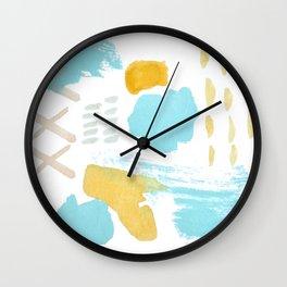 Summer blue yellow abstract Wall Clock
