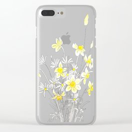 white daisy and yellow daffodils ink and watercolor Clear iPhone Case