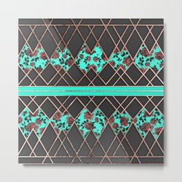 Modern Elegant Rose Gold Triangles and Teal Roses Metal Print