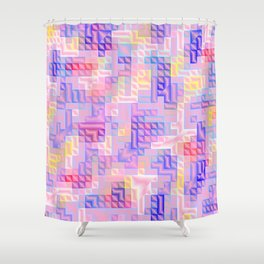 abstract pattern in rose,pink,yellow, blue,purple,checks metal Shower Curtain