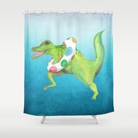 swim Shower Curtains featuring Swim Team by Catherine Holcombe