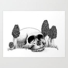 Skull & Morel Art Print
