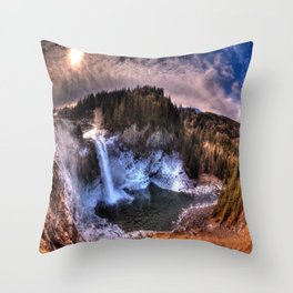 Waterfall from sky view Throw Pillow