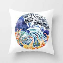 Escaping the storm Throw Pillow