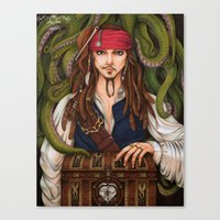 jack sparrow Canvas Prints featuring Jack Sparrow by sika-chan