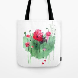 Watercolor hand drawn poppies on green heart background. Tote Bag