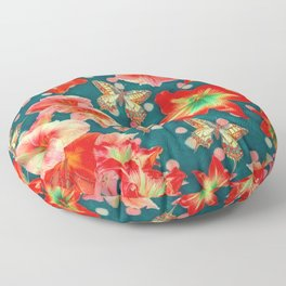 Amaryllis and Butterflies 2 Floor Pillow