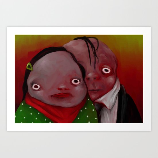 The strange couple Art Print