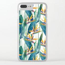 Watercolor strelitzia Clear iPhone Case