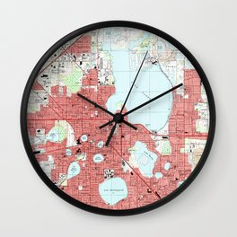 Lakeland Florida Map (1994) Wall Clock