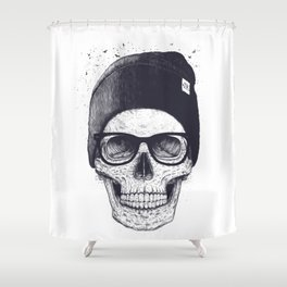 Grey Skull in a hat Shower Curtain