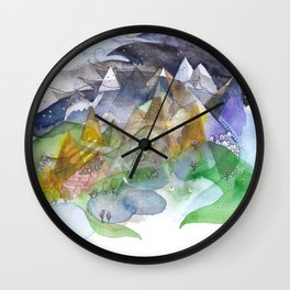 Day, night, mountains, love. Wall Clock