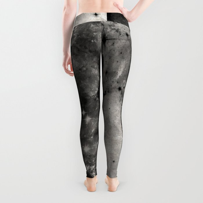 Stripes In Space - Black and white panel effect space scene Leggings