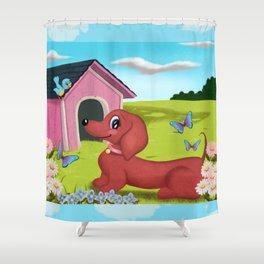 Daisies and A Dachshund Shower Curtain