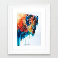 bison Framed Art Prints featuring Bison by Slaveika Aladjova