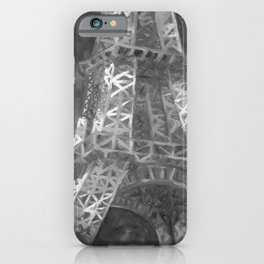 Eiffle Tower by Lu, Black and White iPhone Case