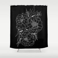peonies Shower Curtains featuring Peonies by Robin Elizabeth Art