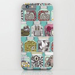 weird pickles blue iPhone Case