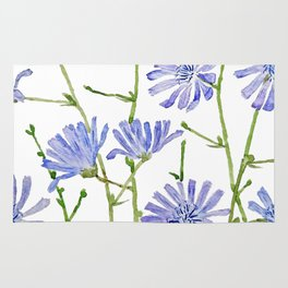 blue chicory watercolor Rug