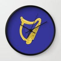 irish Wall Clocks featuring Irish Harp by Richard Fay