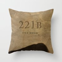 221b Throw Pillows featuring No. 6. 221B by F. C. Brooks