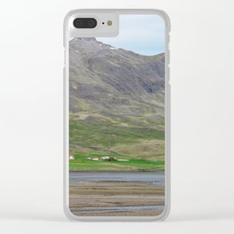 Typical Iceland landscape with farms Clear iPhone Case
