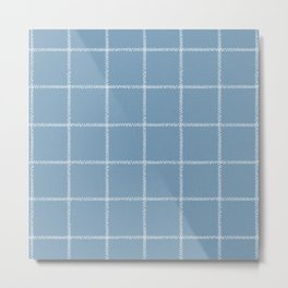 French Blue Linen Check Metal Print
