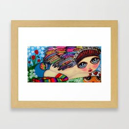 My girls with feathers Framed Art Print