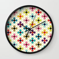 daisies Wall Clocks featuring Daisies by Michelle Nilson