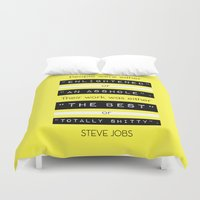steve jobs Duvet Covers featuring STEVE JOBS QUOTE by BONB