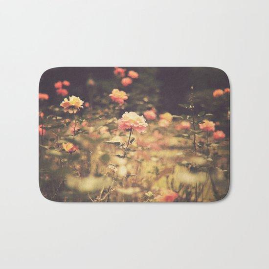 One Rose in a Magic Garden (Vintage Flower Photography) Bath Mat