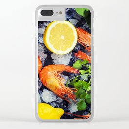 Tiger Shrimps on Ice with lemon and herbs Clear iPhone Case