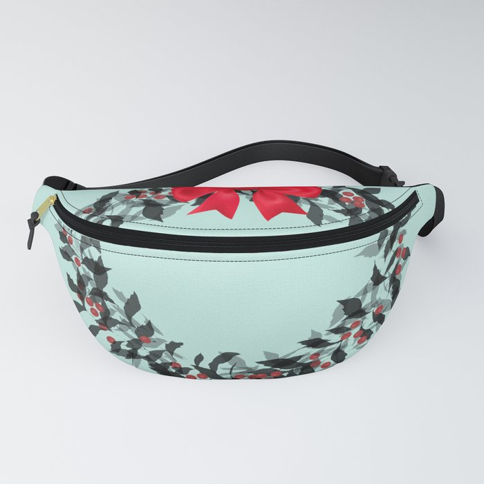 Christmas Wreath with Red Bow #Christmas #holidays Fanny Pack