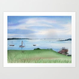 View from Fort McClary in Maine Watercolor Painting Art Print