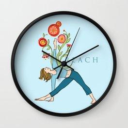 Yoga Girls_Reach_Robin Pickens Wall Clock