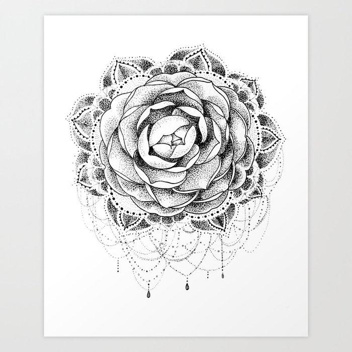 531d06d3b Camellia Dotwork Mandala Art Print by robinelizabethart | Society6