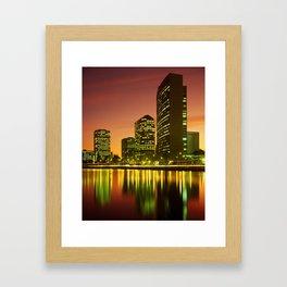 Lake Merritt and Downtown Oakland in Golden Sunset Framed Art Print