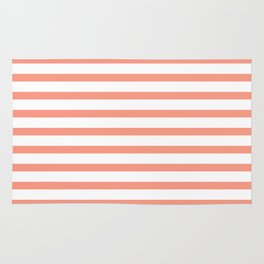 Seamless coral striped pattern on white Rug