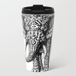 Tribal Elephant Metal Travel Mug