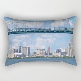 Bridging the Detroit River Rectangular Pillow